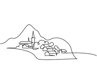 Continuous line drawing. Landscape with village on hill. Vector illustration. Concept for logo, card, banner, poster, flyer Fototapete