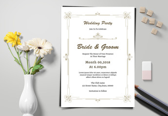 Wedding Invitation Layout with Ornamental Frame Elements