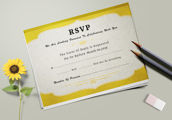 Wedding RSVP Card Layout with Yellow Accents