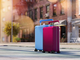 Travel suitcases at the street. 3d rendering