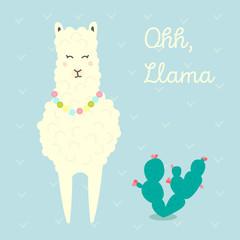 Cute cartoon Llama drawing on light background, simple vector animal illustration