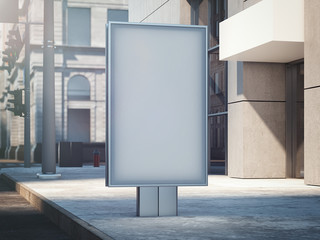 Blank banner on a street with city on background. 3d rendering