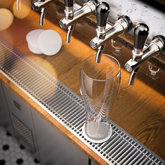 Beer faucets and beer glass close up, 3d rendering