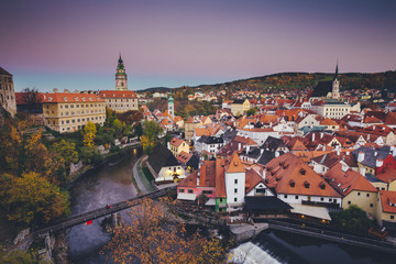 Historic town of Cesky Krumlov at sunset in fall, Bohemia, Czech Republic