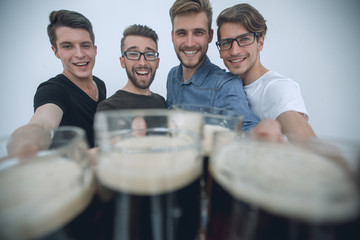 stylized photo .group of friends with beer mugs