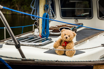 Teddy bear Dranik on the board of yacht