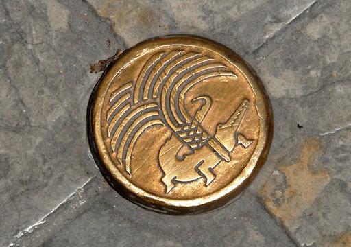 Clou de bronze, emblème de la ville, ville de Nîmes, département du Gard, France