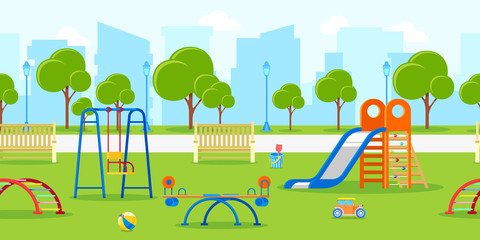 Kindergarten or kids playground in city park. Vector horizontal seamless background. Leisure and outdoor activities.