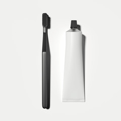White toothpaste tube and black toothbrush on white background, 3d rendering