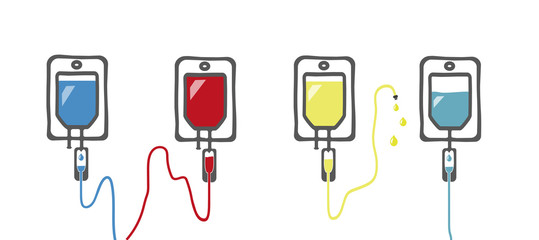 Vektor mit verschiedenen intravenösen Infusionen / Infusionsbeutel