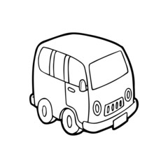 Car cartoon illustration isolated on white background for children color book