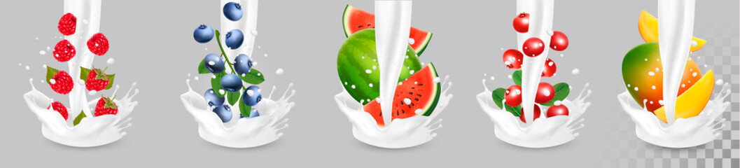 Big collection of fruit in a milk splash. Pineapple, mango, banana, pear, watermelon, blueberry, guava, strawberry, cheesecake, grawberry, raspberry. Vector Set 10.