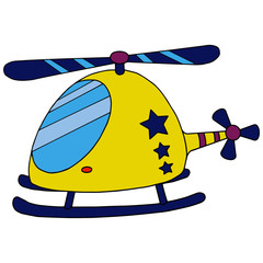 Helicopter cartoon illustration isolated on white background for children color book