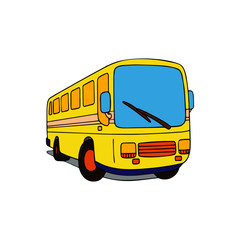 Bus cartoon illustration isolated on white background for children color book