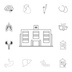 Hospital icon. Simple element illustration. Hospital symbol design from Medical collection set. Can be used for web and mobile