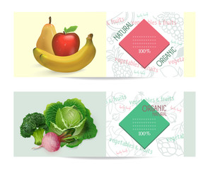 Vector vegetables and fruits horizontal banners