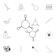 Molecules icon. Simple element illustration. Molecules symbol design from Medical collection set. Can be used for web and mobile