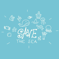 Save the sea word and cartoon doodle vector Illustration