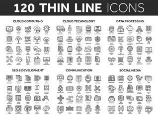 Cloud computing and technology.Data storage. Seo,development. Social network,communication. Internet connection. Email message. Thin line black icons set. Stroke.
