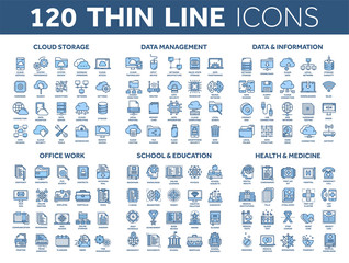 Cloud storage. Data management. Computing. Information. Internet connection. Office work. School and education. Medicine. Thin line blue icons set. Stroke.