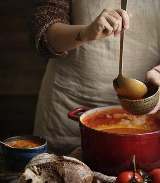 Serving tomato soup food photography recipe idea