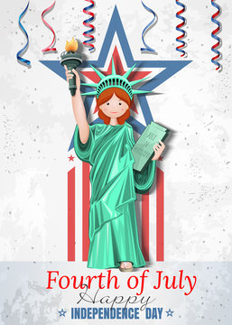 Festive design for the US Independence Day with a girl dressed in the costume of the Statue of Liberty. Fourth of July. Happy Independence Day. Vector illustration