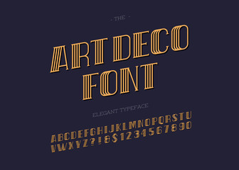 Vector art deco typeface. Retro font for party poster, printing on fabric, t shirt, promotion, decoration, stamp, label. Cool bold modern alphabet vintage typography. 10 eps