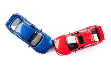 Car crash accident isolated on whie background top view insurance concept