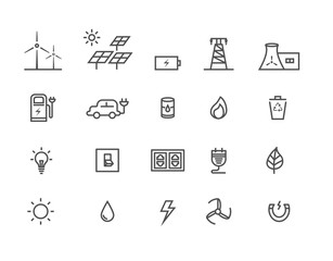 Simple Set by power source of energy vector thin line icons, Editable Stroke
