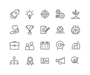 Simple Set of Start up vector thin line icons, Editable Stroke linear symbols.