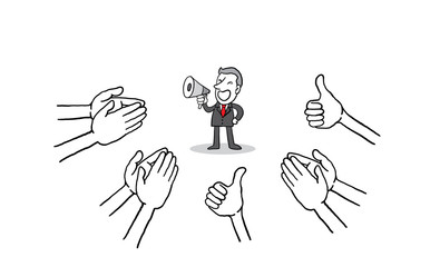 businessman talking megaphone with many Hands clapping ovation and thumps up on white background. applaud hands. isolated vector illustration hand drawn doodle line art cartoon design character.