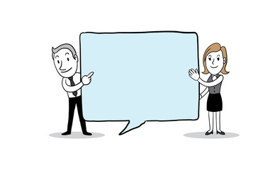 Business people hold big speech bubble. isolated vector illustration outline hand drawn doodle line art cartoon design character.