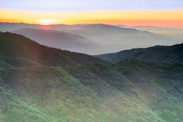 Sunset Views from Mt Umunhum Summit. Sierra Azul Open Space Preserve, Santa Clara County, California, USA.