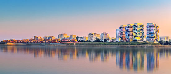 Wall Mural - Constanta skyline panorama at sunset
