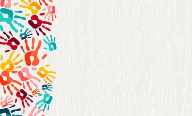 Color hand print paint background art