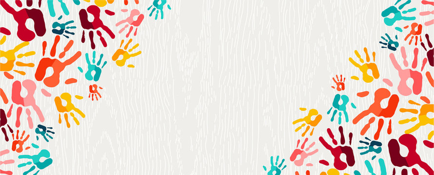 Colorful hand print paint background art