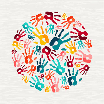 Human hand print concept for social help
