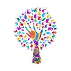 Tree with human hands for social work help