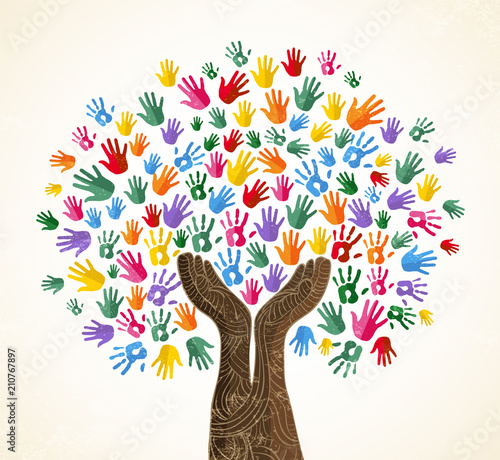 Wall mural Human hand tree for culture diversity concept