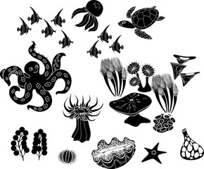 Set of black silhouettes of different marine animals