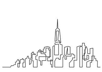 continuous line drawing of big city skyline
