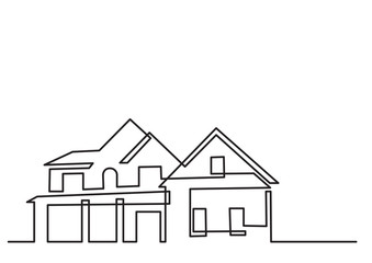 continuous line drawing of residential house