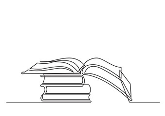 continuous line drawing of books