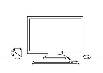 continuous line drawing of work desk computer and coffee