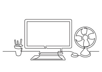 continuous line drawing of work desk with computer and cooling fan