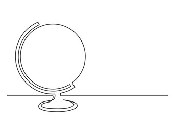 continuous line drawing of desk globe