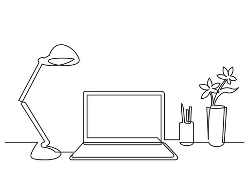continuous line drawing of work desk with computer lamp and flower