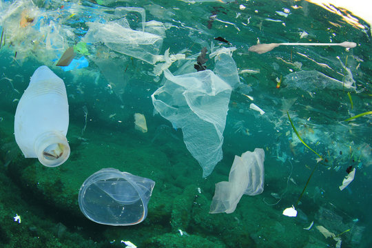 Plastic ocean pollution. Underwater bags, bottles, cups, straws and ear buds