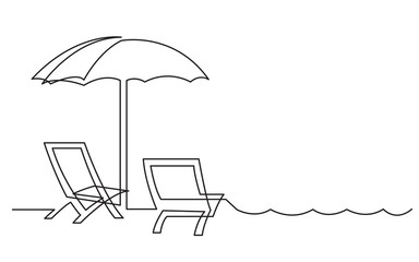 continuous line drawing of beach chairs and sea waves