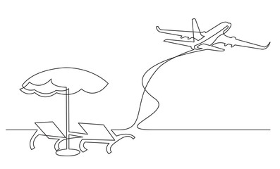 continuous line drawing of beach chairs umbrella and passenger jet